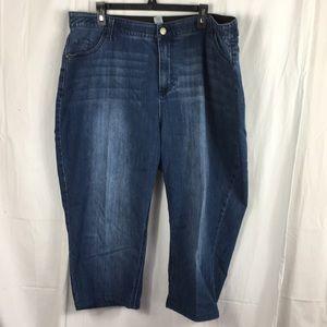 Catherine's  jean capris with elastic waistband